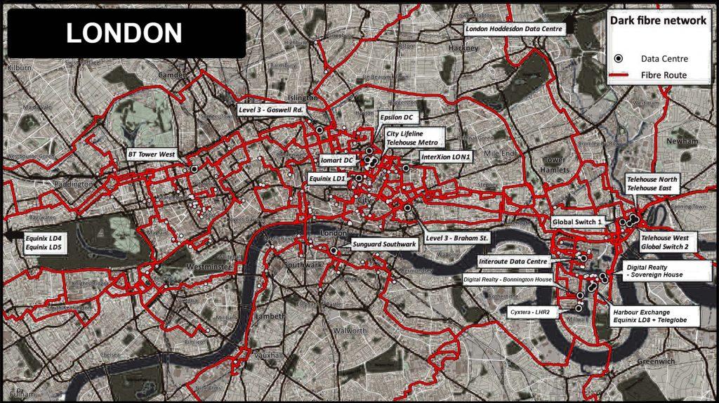 Map of London's dark fibre optic network