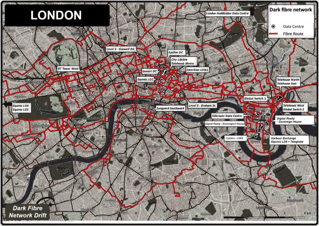 Map of Londons optical fibre network.